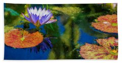 Autumn Lily Pad Impressions Beach Towel