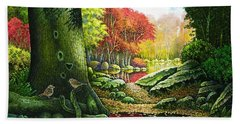 Autumn Morning In The Forest Beach Towel