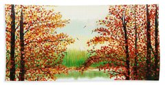 Autumn On The Ema River Estonia Beach Towel