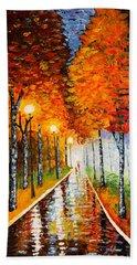 Autumn Park Night Lights Palette Knife Beach Towel