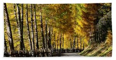 Winding Road Through The Autumn Trees Beach Sheet by IPics Photography