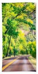 Autumn Road Through Zion Beach Towel