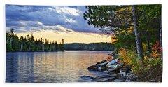 Autumn Sunset At Lake Beach Towel