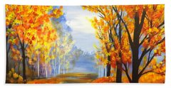 Beach Sheet featuring the painting Autumn Trail by Darren Robinson