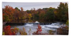 Beach Sheet featuring the photograph Refreshing Waterfalls Autumn Trees On The Stones River Tennessee by Jerry Cowart