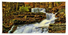 Autumn By The Waterfall Beach Towel by Nick Zelinsky