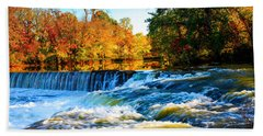 Amazing Autumn Flowing Waterfalls On The River  Beach Towel