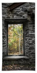 Beach Towel featuring the photograph Autumn Within Cunningham Tower - Historical Ruins by Gary Heller