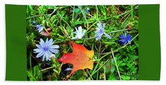 Beach Towel featuring the photograph Autumns First Leaf by Jackie Carpenter