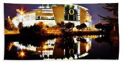 Autzen At Night Beach Towel