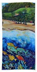 Beach Towel featuring the painting Away With The Fishes by Patti Schermerhorn