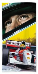 Ayrton Senna Artwork Beach Towel by Sheraz A
