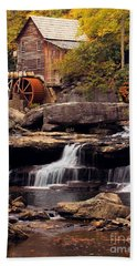 Beach Towel featuring the photograph Babcock Grist Mill And Falls by Jerry Fornarotto