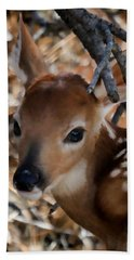 Baby Face Fawn Beach Sheet by Athena Mckinzie