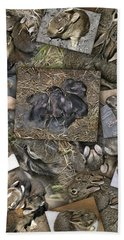 Baby Rabbits Beach Towel by James Larkin