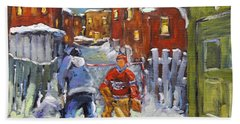 Back Lane Hockey Shoot Out By Prankearts Beach Towel