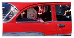Beach Towel featuring the photograph Back Seat Marilyn by Ed Weidman