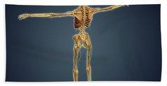 Back View Of Human Skeleton Beach Towel