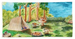 Back Yard Camp Beach Towel