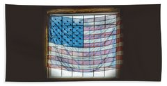 Backlit American Flag Beach Towel