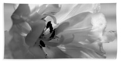 Backlit Black And White Tulip Beach Towel