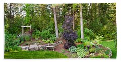 Backyard Garden In Loon Lake, Spokane Beach Towel