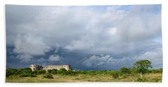 Beach Towel featuring the photograph Bad Weather Is Coming Up At  A Medieval Castle Ruin by Kennerth and Birgitta Kullman