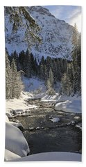 Baergunt Valley Kleinwalsertal Austria In Winter Beach Towel