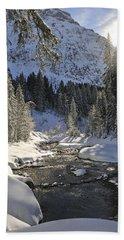 Baergunt Valley Kleinwalsertal Austria In Winter Beach Sheet