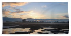 Bakersfield Sunrise Beach Towel by Meghan at FireBonnet Art