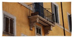 Beach Towel featuring the photograph Balcony Piazza Della Madallena In Roma by Dany Lison