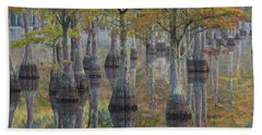 Bald Cypress Trees In A Forest, George Beach Towel