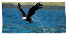 Beach Towel featuring the photograph Bald Eagle Fishing by Don Schwartz