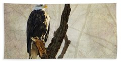 Bald Eagle Keeping Watch In Illinois Beach Towel