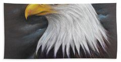 Beach Towel featuring the drawing Bald Eagle by Patricia Lintner
