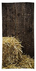 Bale Of Straw And Wooden Background Beach Sheet