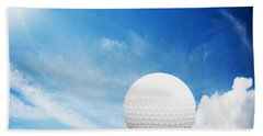 Ball On Tee On Green Golf Field Beach Towel