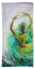 Beach Towel featuring the painting Ballerina by Xueling Zou