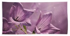 Beach Towel featuring the photograph Balloon Flowers by Ann Lauwers