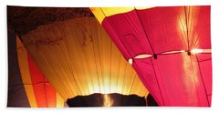Balloons At Night Beach Sheet by Laurel Powell