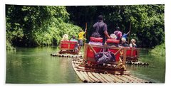 Bamboo River Rafting Beach Towel by Melanie Lankford Photography
