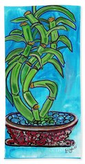 Beach Towel featuring the painting Bamboo Twist by Ecinja Art Works