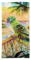 Banana Tree And Tropical Bird Beach Sheet