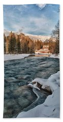Banff Springs Hotel And River, Winter Beach Towel