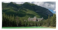 Banff Springs Hotel By Bow River Beach Towel