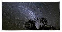 Baobab And Star Trails  Botswana Beach Towel