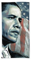 Barack Obama Artwork 2 B Beach Towel by Sheraz A