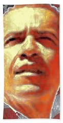 Barack Obama American President - Red White Blue Beach Sheet by Art America Gallery Peter Potter