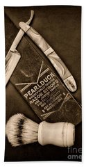 Barber - Tools For A Close Shave - Black And White Beach Sheet