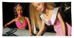 Beach Towel featuring the photograph Barbie Escapes by Nina Silver